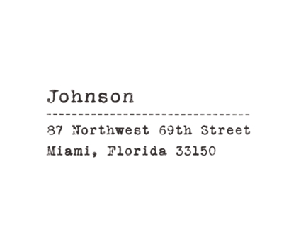 Vintage Typewriter Rubber Address Stamp from Paperwink