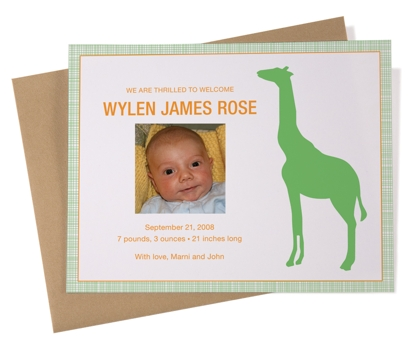 Giraffe Baby Announcements Set of 25 from Paperwink