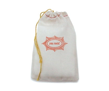 You Rock Stamped Muslin Bag from Paperwink