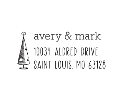 Merry Tree Address Stamp Rubber Address Stamp from Paperwink